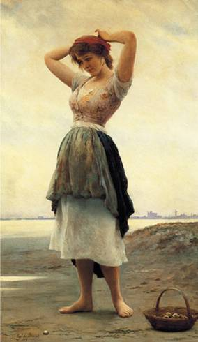 Eugene de Blaas' On the Beach